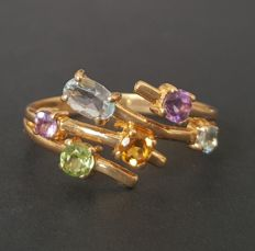 18 kt yellow gold ring with aquamarine, amethysts, peridot, topaz and citrine - Size: 17.2 mm 14/54 (EU)