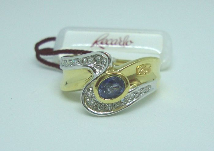 Recarlo ring in 18 kt white and yellow gold with diamonds and sapphire - Size 18