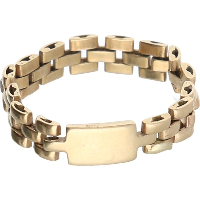 14 kt - Yellow gold flexible Rolex link ring - Ring size: 16.25 mm