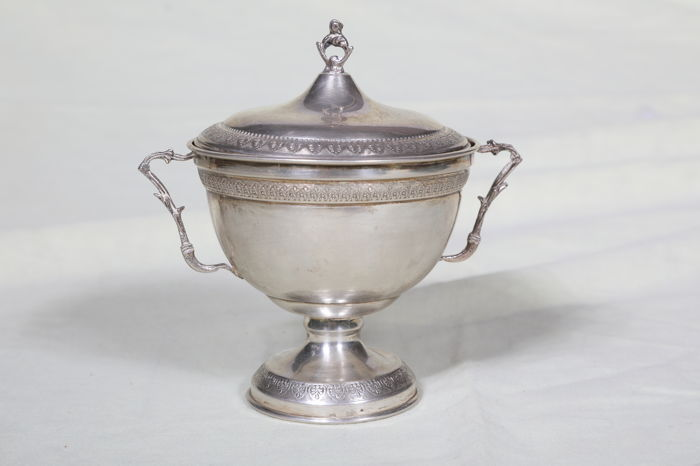 Silver sugar bowl with lid