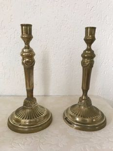 Two bronze candlesticks - France - ca. 1850
