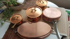 High quality Van Stahl copper saucepans set of five