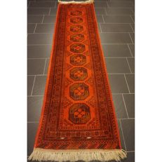 Old handwoven Art Deco oriental carpet 300 x 80 cm, Afghan carpet runner gallery runner, Made in Afghanistan