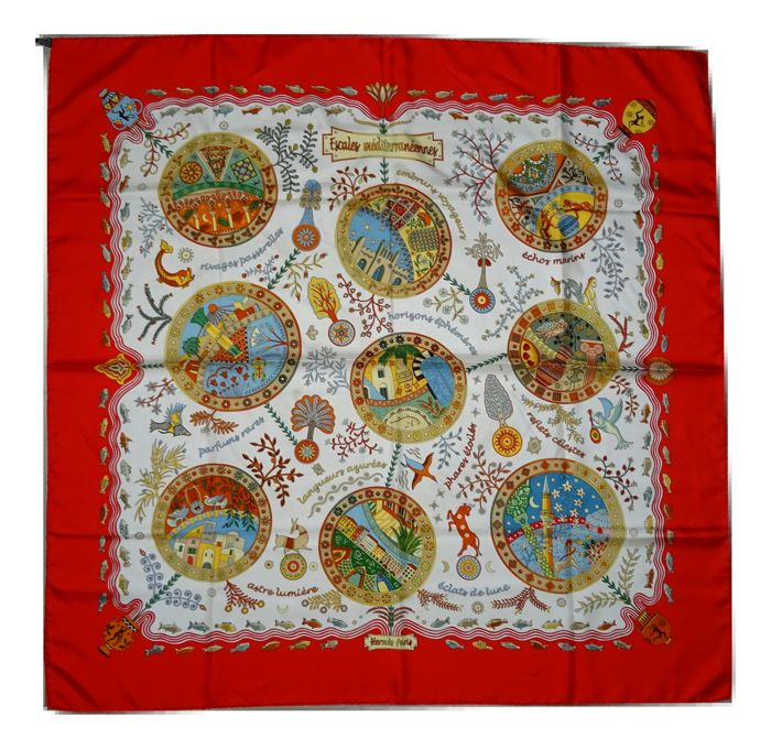Hermes - Escales Mediterraneennes – Christine Henry – Hermes Scarf Carre 90x90 silk