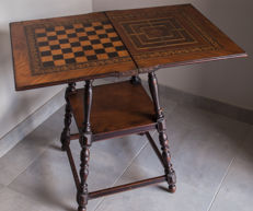 Antique side table with boards for games
