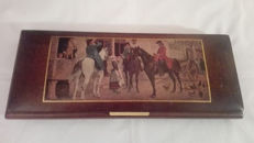 Elegant wooden game box with excellent figures with the horse theme