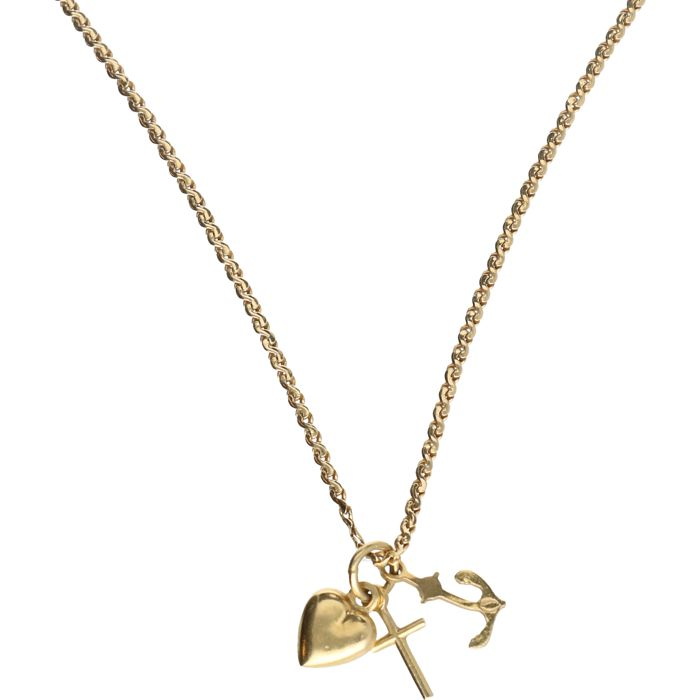 18 kt - yellow gold S-link necklace with pendant in the shape of faith, hope and love - length: 58 cm