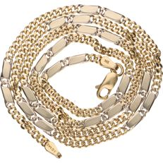 14 kt Bi-colour gold curb link necklace - Length: 53 cm