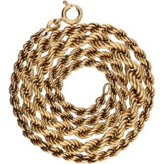 14 kt - Yellow gold twisted link bracelet with a widened centrepiece - length: 46 cm