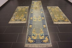 A magnificent handwoven Oriental silk carpet set China silk bed spread 2x 70 x 140 cm and 1x 70 x 340 cm made in China