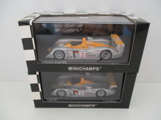 Minichamps - Scale 1/43 - Lot with 2 models: 2 x Infineon Audi R8 2001/2002