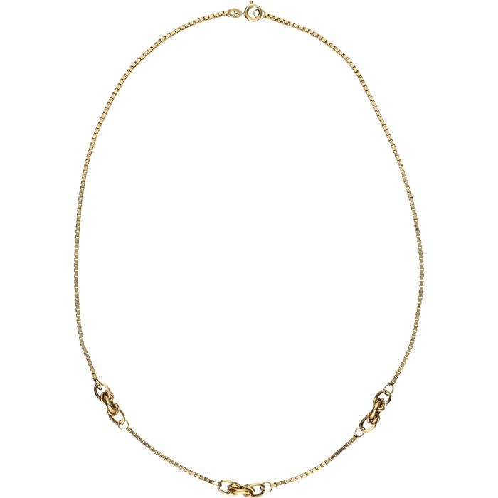 14 kt - Yellow gold, Venetian link necklace with three fantasy links in the middle - Length: 40 cm