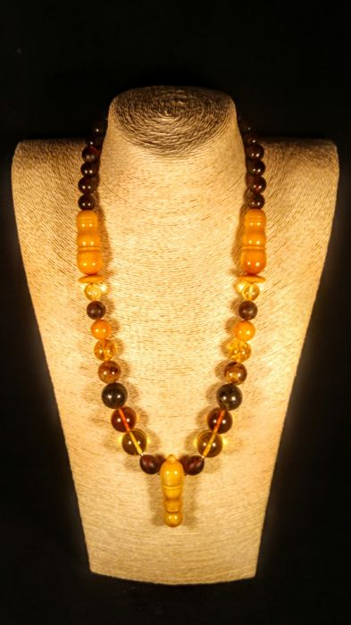 Round beads Modified Baltic Amber necklace,  necklace length ca. 60 cm