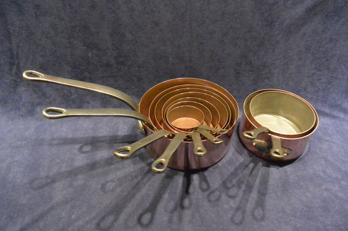 9 piece red copper sauce pan set with wrought iron steel.