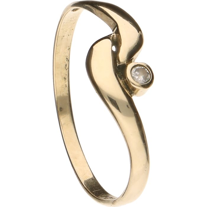 14 kt yellow gold ring set with a brilliant cut diamond of approx. 0.02 ct. - Inner size 17 mm