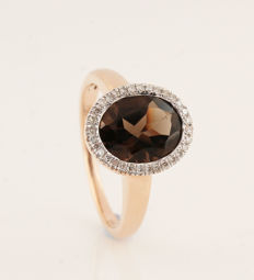 18kt rose gouden diamanten en smoky quartz ring 0.10ct - size 52