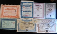 Rare Lot of 7 original French car titles (Renault / Brazier and others, see list) - first half of the 20th century