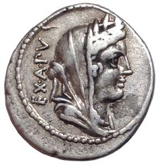 The Roman Republic - C. Fabius C.f. Hadrianus - AR Denarius (Silver, 20mm; 3,97g.) - Rome mint, 102 BC - Head of Roma / Victory in quadriga - Cr. 322/1 b