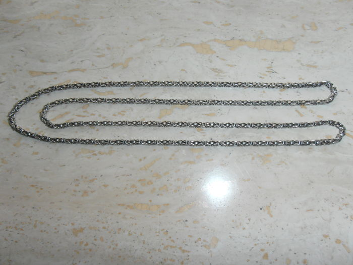 Silver king's braid link necklace, 925 kt - 43 cm.