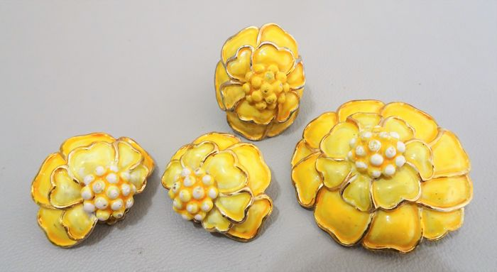 Signed HOLLYCRAFT - Parure - RARE - Flower Brooch, earrings and Ring 1950/60s