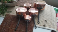 French copper pan set of five