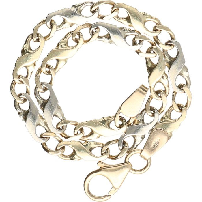 14 kt - Bicolour, yellow/white gold, Figaro link bracelet - Length:
