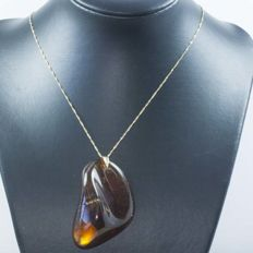18 kt gold necklace with Singapore chain and Baltic amber – 45 cm