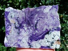 Beautiful polished natural Charoite stone - 12 x 9 x 1.8 cm - 415 g.