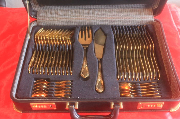 Fine fish cutlery set - Christina Royal (N) Solingen, 38 pieces, fully gold-plated, 23/24 carat gold, new condition, unused, 1000 fine gold