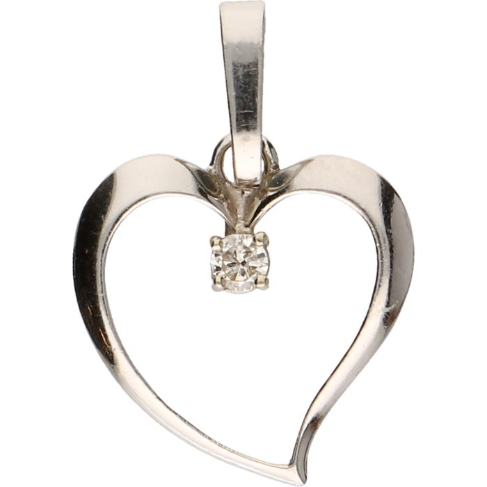 14 kt - White gold pendant in the shape of an openworked heart, set with 1 diamond of approx. 0.05 ct - Length x Width: 2.5 x 1.7 cm