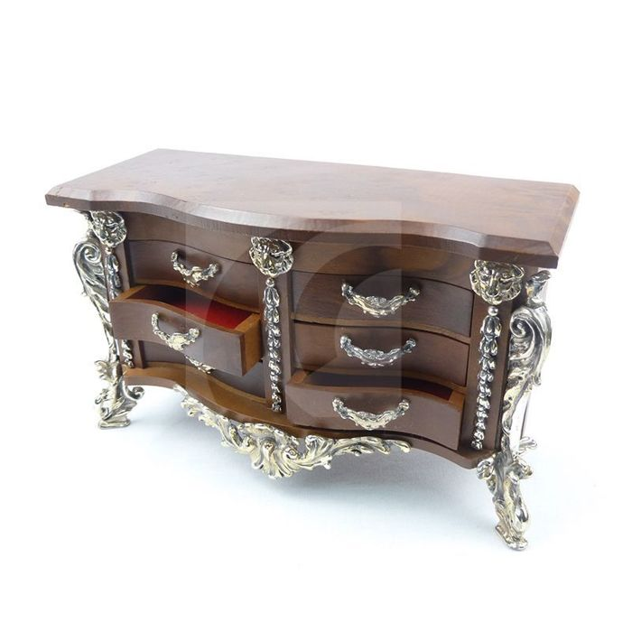 Silver and walnut chest of drawers. Italian made by Casa Opera, .925 fineness