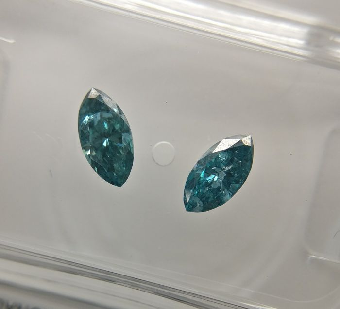 Lot of 2 Marquise cut diamond total 0.53 ct Fancy Deep Greenish Blue SI3-I1