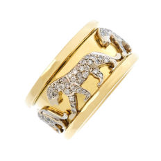 Ring in 18 kt gold with a rotating ribbon which features 4 leopards in diamonds, 0.60 ct - Size 59