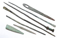 Selection of 7 Ancient Roman Bronze, and Iron Medical Tools - 42-135 mm (7)