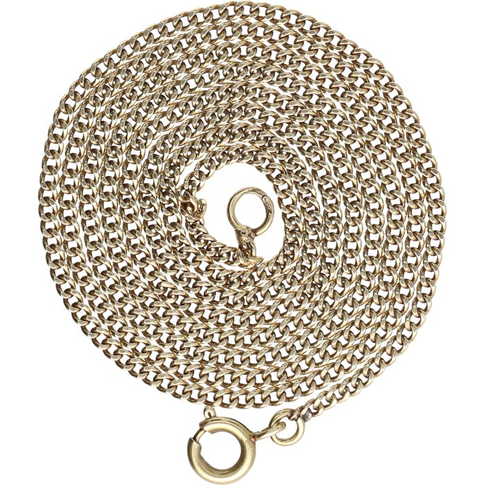 14 kt - Yellow gold curb link necklace - Length: 49.5 cm