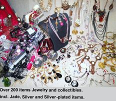 Over 200 items Jewelry and collectibles.  incl. Jade, Silver and Silver-plated items.