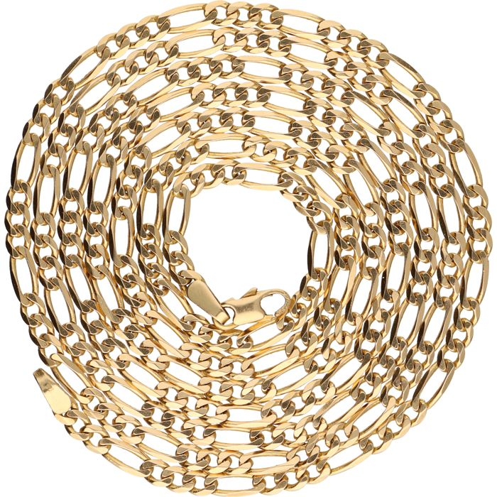 14 kt - Yellow gold Figaro link necklace - Length: 81 cm