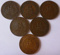 French Indochina – 1 cent 1885, 1887, 1888, 1892, 1894, 1895 (batch of 6 coins) – Bronze