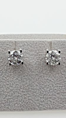3.06 ct  round diamond stud earrings 14 kt white gold