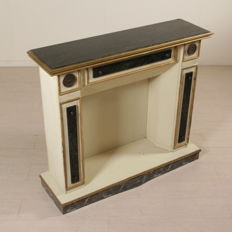 Mock fireplace with marble top and green marble tiles Italy - mid 20th century