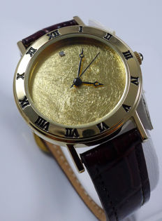 Yves Camani wristwatch with 999.9/1000 Gold leaf & Diamond dial