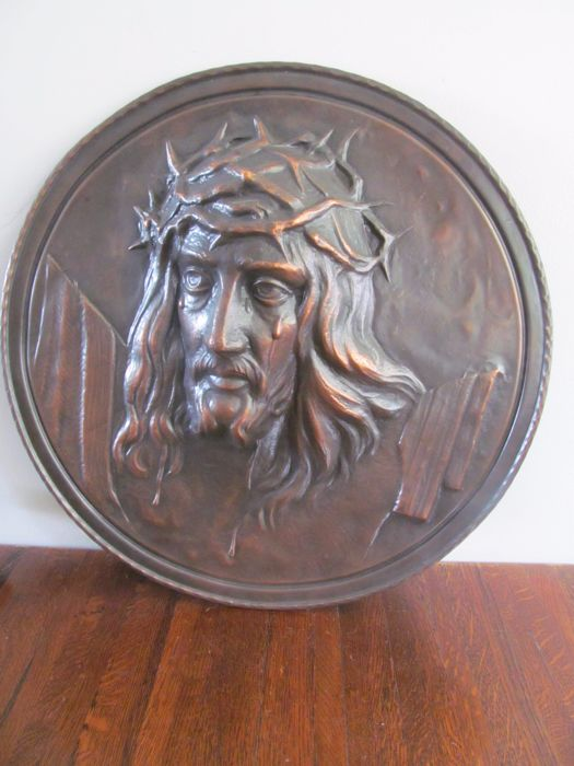 Large brass art deco Christ relief plaque - the Netherlands - c. 1930