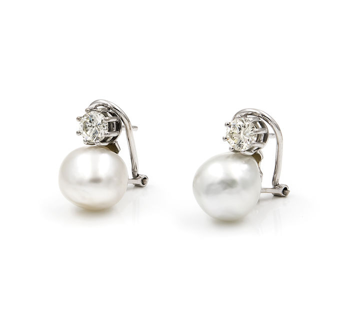 Oro blanco de 750 milésimas (18kt) - Pendientes con Perlas south sea pearls - Diámetro: 11 mm (aprox) - Diamantes talla de brillante