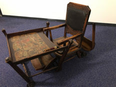 Luxurious Naether children's playing table foldable to high chair - Germany - ca 1900 - museum quality