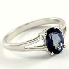 14k White Gold Ring 1.13 ct Blue Topaz - 7 US