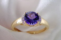 Tanzanite ring AAA / 1.00 ct * brilliants 0.04 ct, 750 gold with jewellery pass – ring size: approx. 21