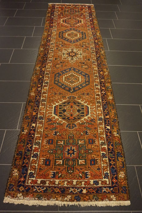 Antique Persian carpet, Heriz runner, made in Iran, antique carpet, 95 x 330 cm