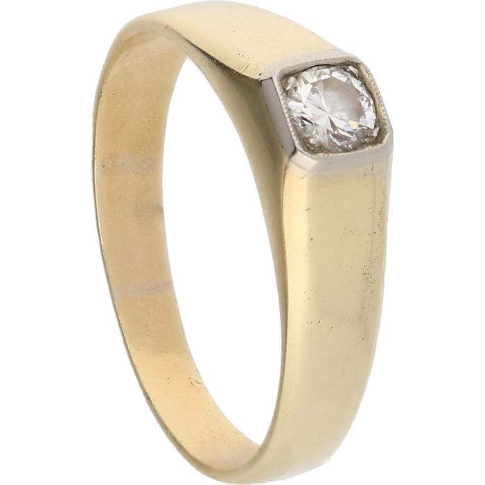 14 kt yellow gold ring set with a brilliant cut diamond of approx. 0.24 ct.