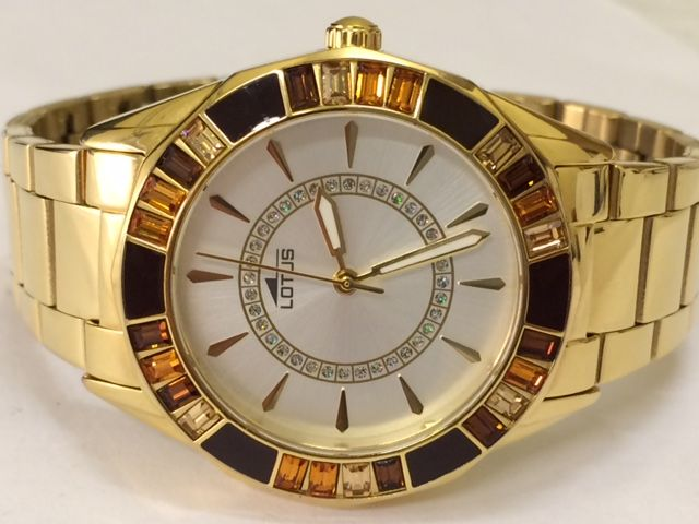 Lotus women's wristwatch with gold-plated case