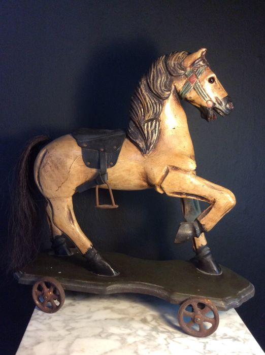 Decorative wooden horse - presumably from France - Mid 20th century